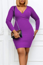 Purple Sexy Solid Split Joint V Neck One Step Skirt Plus Size Dresses