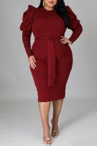 Burgundy Fashion Casual Solid With Belt O Neck Long Sleeve Plus Size Dresses