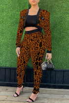 Brown Sexy Plaid Print Leopard Split Joint Long Sleeve Two Pieces