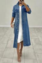 Blue Fashion Casual Solid Ripped Cardigan Long Sleeve Regular Denim Jacket