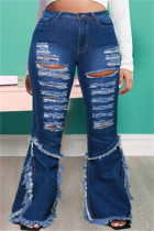 Dark Blue Fashion Casual Solid Ripped Split Joint Plus Size Jeans
