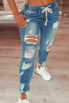Baby Blue Casual Patchwork Ripped High Waist Skinny Denim