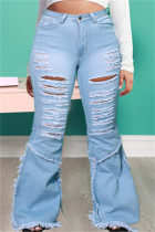Baby Blue Fashion Casual Solid Ripped Split Joint Plus Size Jeans