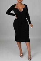 Black Sexy Solid Split Joint Frenulum Backless Asymmetrical Collar One Step Skirt Dresses