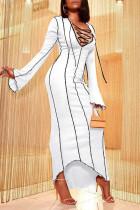 White Sexy Solid Split Joint Asymmetrical V Neck One Step Skirt Dresses