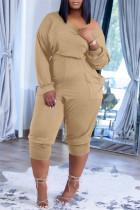 Khaki Fashion Casual Solid Pocket Oblique Collar Regular Jumpsuits