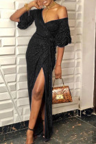 Black Sexy Solid Split Joint V Neck Evening Dress Dresses