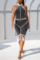 Black Sexy Plus Size Patchwork Tassel Backless Beading Half A Turtleneck Sleeveless Dress