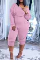 Pink Fashion Casual Solid Pocket Oblique Collar Regular Jumpsuits