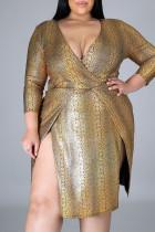 Gold Sexy Print Split Joint Slit V Neck One Step Skirt Plus Size Dresses