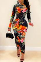 Colour Celebrities Print Split Joint O Neck Pencil Skirt Dresses