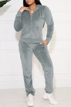 Grey Casual Solid Pocket Hooded Collar Long Sleeve Two Pieces