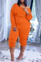 Orange Fashion Casual Solid Pocket Oblique Collar Regular Jumpsuits