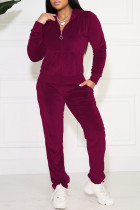 Fuchsia Casual Solid Pocket Hooded Collar Long Sleeve Two Pieces