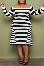 Black Casual Elegant Striped Print Split Joint Off the Shoulder A Line Plus Size Dresses