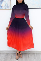 Red Casual Elegant Gradual Change Split Joint Fold Half A Turtleneck Long Sleeve Two Pieces