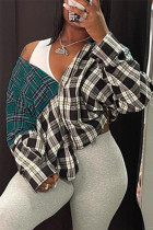 Grey Fashion Casual Plaid Print Split Joint Turndown Collar Outerwear