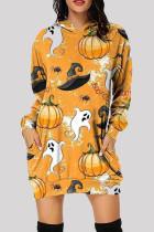 Yellow Fashion Casual Print Basic Hooded Collar Long Sleeve Dresses