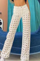 White Street Solid Ripped Make Old Split Joint High Waist Straight Denim Jeans