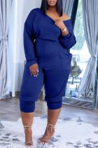 Blue Fashion Casual Solid Pocket Oblique Collar Regular Jumpsuits