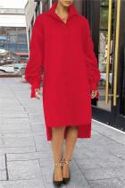 Red Fashion Casual Solid Slit Turndown Collar Long Sleeve Shirt Dress