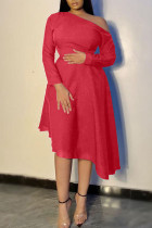 Red Casual Elegant Solid Split Joint Asymmetrical Oblique Collar A Line Dresses