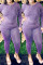 Purple Fashion Casual Solid Basic O Neck Plus Size Two Pieces