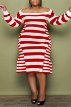 Red Casual Elegant Striped Print Split Joint Off the Shoulder A Line Plus Size Dresses