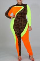 Colour Fashion Casual Print Split Joint Half A Turtleneck Plus Size Jumpsuits