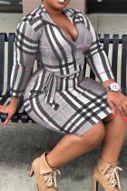 Grey Fashion Casual Plaid Print With Belt Zipper Collar Long Sleeve Plus Size Dresses