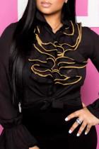 Black Fashion Casual Patchwork Basic Turndown Collar Tops