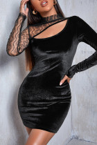 Black Fashion Sexy Patchwork Hollowed Out Half A Turtleneck Long Sleeve Dresses
