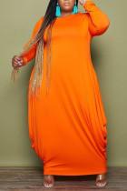 Tangerine Red Casual Solid Split Joint O Neck Irregular Dress Plus Size Dresses