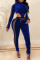 Royal Blue Fashion Sexy Patchwork Hollowed Out See-through Zipper Collar Long Sleeve Jumpsuits (Without Belt Bag)