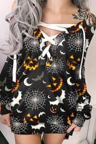 Black And White Fashion Casual Print Bandage V Neck Long Sleeve Dresses