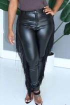 Black PU Zipper Fly Mid Solid Zippered Tassel pencil Pants Pants