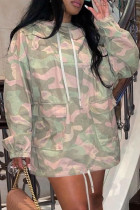 Camouflage Fashion Casual Camouflage Print Split Joint Pocket Hooded Collar Long Sleeve Dresses