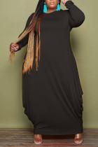 Black Casual Solid Split Joint O Neck Irregular Dress Plus Size Dresses