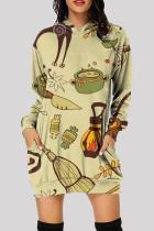 Green Fashion Casual Print Basic Hooded Collar Long Sleeve Dresses