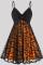 Orange Fashion Casual Patchwork Backless V Neck Sling Dress Plus Size Dresses