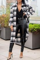 Black Fashion Casual Plaid Print Split Joint Turndown Collar Outerwear