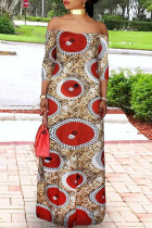 Red Fashion Casual Plus Size Print Basic Off the Shoulder Long Dress