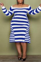 Blue Casual Elegant Striped Print Split Joint Off the Shoulder A Line Plus Size Dresses