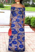 Blue Fashion Casual Plus Size Print Basic Off the Shoulder Long Dress