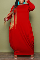 Red Casual Solid Split Joint O Neck Irregular Dress Plus Size Dresses
