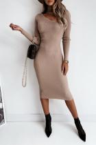 Cream White Fashion Elegant Solid Hollowed Out Split Joint Half A Turtleneck Pencil Skirt Dresses