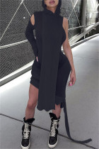 Black Fashion Casual Solid Split Joint Asymmetrical Hooded Collar Long Sleeve Dresses