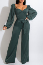 Green Casual Sweet Solid Split Joint Square Collar Straight Jumpsuits