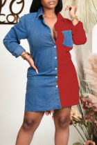 Red Casual Solid Split Joint Buckle Turndown Collar Shirt Dress Dresses