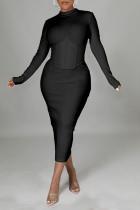Black Casual Solid Split Joint Half A Turtleneck One Step Skirt Dresses